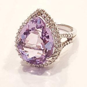 🔥SALE STERLING SILVER Pear Purple Amethyst Ring